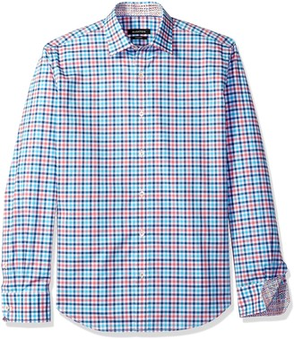 Bugatchi Men's Dudley Long Sleeve Plaid Check Button Down Shirt