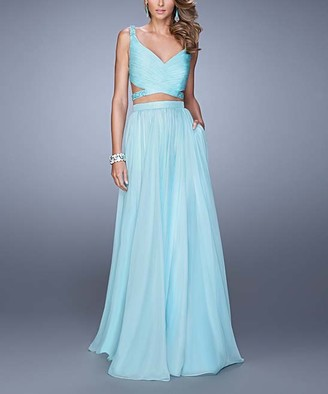 La Femme Women's Special Occasion Dresses Light - Light Mint Bead-Accent Strappy-Back Two-Piece V-Neck Gown - Women