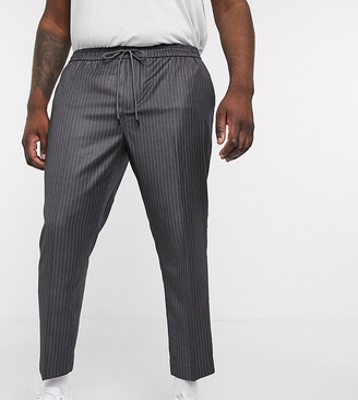 New Look PLUS pinstripe joggers in grey