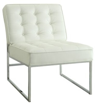 Mercer41 Aldgate Slipper Chair Fabric: White Faux Leather
