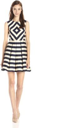 Minuet Women's Printed A Line Dress with Scoop Neckline