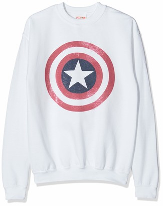 Marvel Boy's Avengers Captain America Distressed Shield Sweatshirt