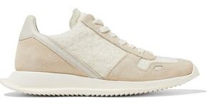 Rick Owens Runner Leather, Suede And Frayed Woven Sneakers