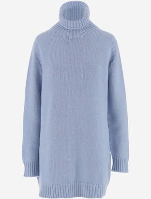 Lanvin Light Blue Cashmere Women's Turtleneck Long Sweater