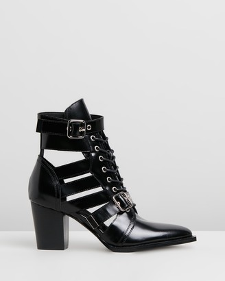 Mollini Lindsaya Box Leather Ankle Boots