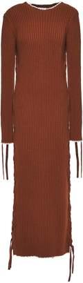 By Malene Birger Lace-up Ribbed Cotton Midi Dress