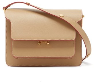 Marni Trunk Medium Saffiano-leather Shoulder Bag - Beige