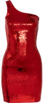 Saint Laurent One-shoulder Sequined Mini Dress - Red