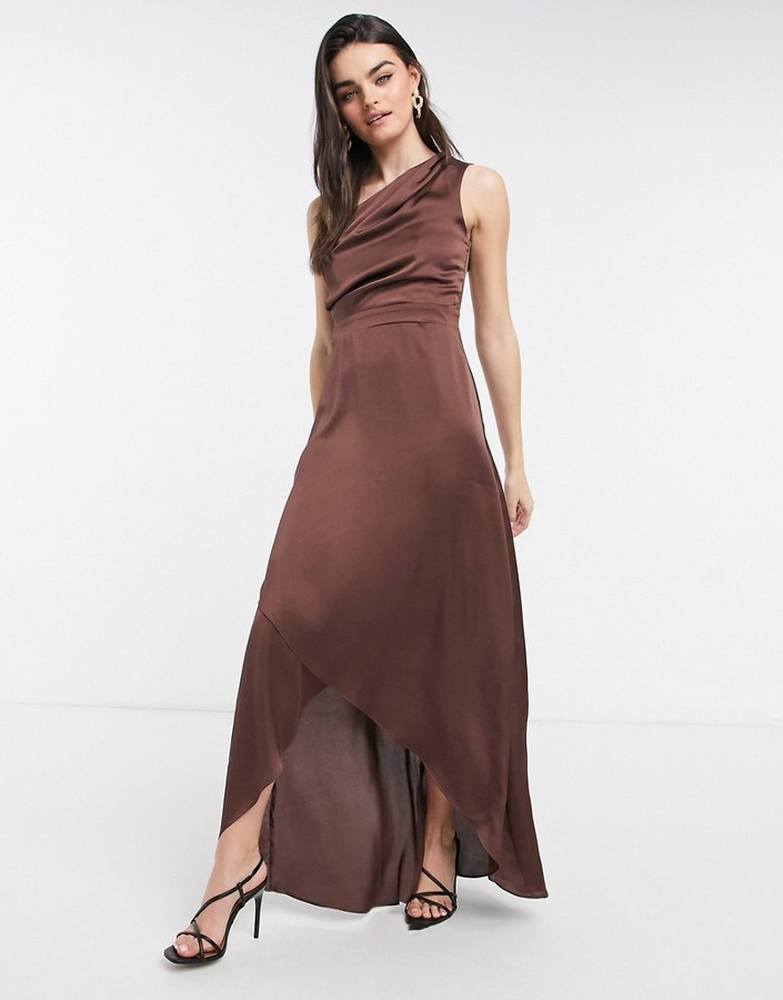 Thumbnail for your product : TFNC Bridesmaid one shoulder maxi dress in chocolate brown