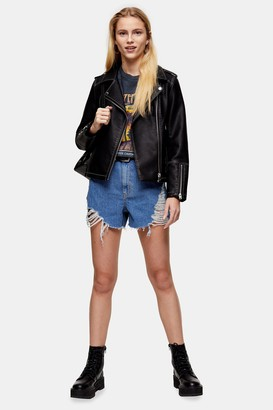 Topshop Womens A Line Ripped Detail Denim Shorts - Mid Stone