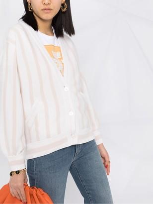 Barrie striped V-neck cashmere cardigan