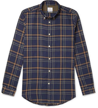 Paul Smith Button-Down Collar Checked Stretch-Cotton Twill Shirt