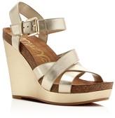 Sam Edelman Nelson Metallic High Heel Platform Wedge Sandals