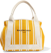 Balenciaga Navy Cabas Leather-trimmed Striped Canvas Tote - Yellow