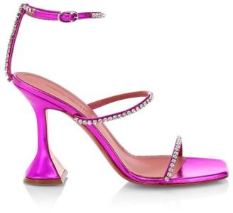 Amina Muaddi Gilda Embellished Metallic Leather Sandals