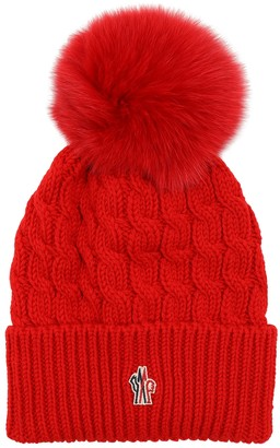 MONCLER GRENOBLE Wool Cable Knit Hat W/ Pom Pom