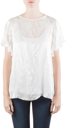 Blumarine White Silk Blend Raglan Sleeve Burnout Blouse M