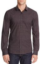 HUGO Ero Grid Print Slim Fit Button Down Shirt