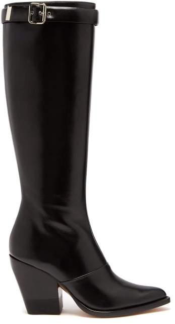 Chloé Knee High Leather Boots - Womens - Black