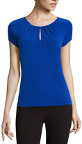 Liz Claiborne Short-Saddle-Sleeve Keyhole Top