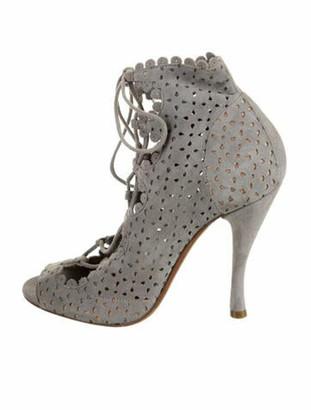 Tabitha Simmons Suede Peep-Toe Booties grey