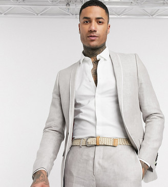 Twisted Tailor TALL slim linen suit jacket in stone