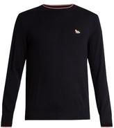 MAISON KITSUNÉ Fox-appliqué wool sweater