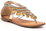 Naughty Monkey Brave Heart Rhinestone & Coin Detail Flat Leather Sandals