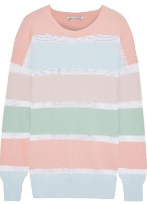Autumn Cashmere Pointelle-trimmed Striped Stretch-knit Top