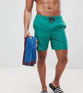 Asos TALL Swim Shorts In Dark Green Mid Length