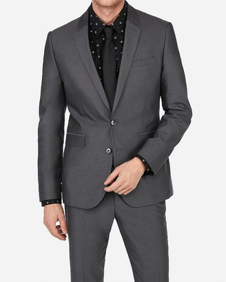 Express Extra Slim Charcoal Cotton Oxford Suit Jacket