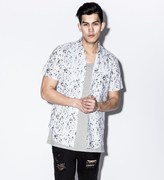 Stampd White Calf Hair Underprint Button Down Shirt