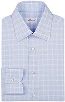 Brioni Men's Plaid Cotton Dress Shirt-Light Blue