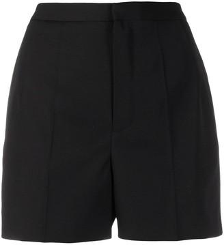 Saint Laurent High-Waist Tuxedo Short Shorts