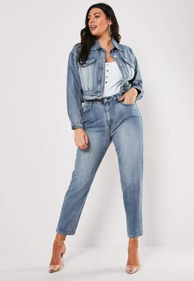 Missguided Plus Size Blue Co Ord Cropped Boxy Denim Jacket