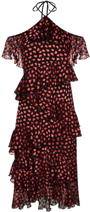 Alice + Olivia Annabeth Ruffled Heart Print Dress