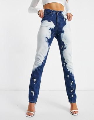 Calvin Klein EST 1978 tie dye straight leg jeans in dark blue