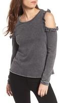 Love, Fire Women's Ruffle Cold Shoulder Sweatshirt