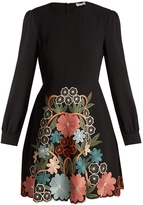 RED Valentino Floral macramé-embroidered crepe dress