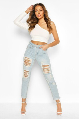 boohoo Mid Rise All Over Ripped Boyfriend Jeans