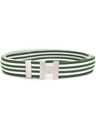 Hermes Pre-Owned H buckle striped belt