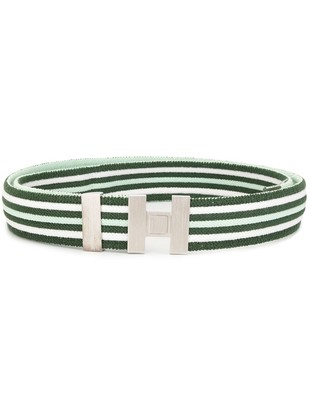 Hermes pre-owned H buckle striped belt