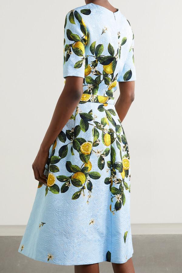 Thumbnail for your product : Oscar de la Renta Belted Appliqued Printed Jacquard Dress - Blue