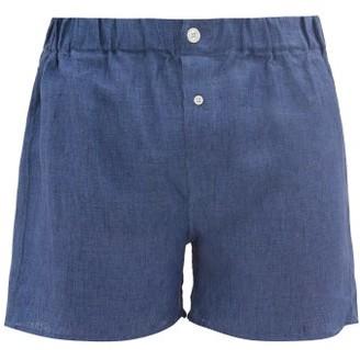 Emma Willis Slim-fit Linen Boxer Shorts - Dark Blue