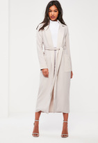 Missguided Grey Satin Pocket Detail Duster Coat
