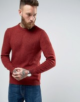 Asos Lambswool Rich Crew Neck Sweater in Red Twist