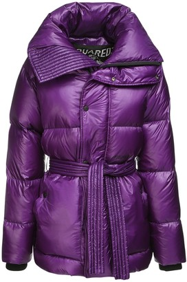 DSQUARED2 Hooded Down Jacket W/ Belt