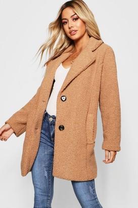 boohoo Petite Button Through Teddy Coat