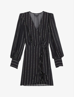 The Kooples Metallic stripe chiffon wrap mini dress