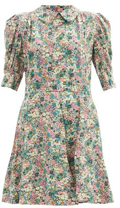 See by Chloe Floral Meadow-print Silk Crepe-de-chine Mini Dress - Green Print